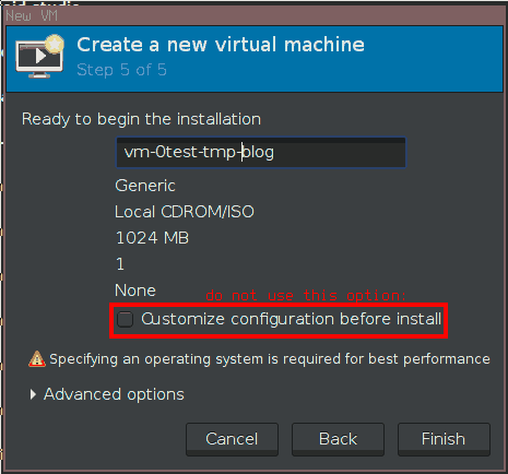 Do not use this option. Instead power off the VM and configure and install it afterwards